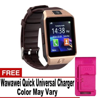 DZ-09A1/M8/M9/U8 Phone Quad Smartwatch with SIM andCamera(Gold/Brown) with Free Quick Universal Charger Price Philippines