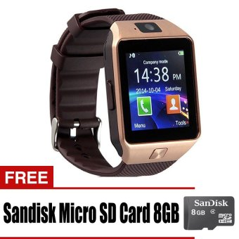 DZ-09A1/M8/M9/U8 Phone Quad Smartwatch with SIM andCamera(Gold/Brown) with Free Sandisk 8GB Price Philippines