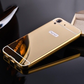 Elaike For Huawei Y6II 2 in 1 Luxury Aluminum Metal Mirror PC PhoneCover Case (Gold) - intl