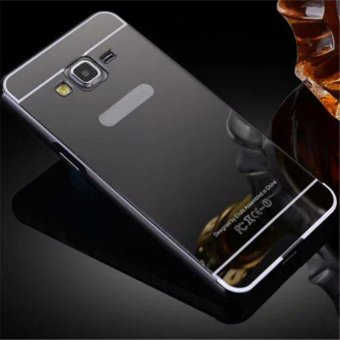 Elaike For Samsung Galaxy On7 2 in 1 Luxury Aluminum Metal Mirror PC Phone Cover Case (Black) - intl