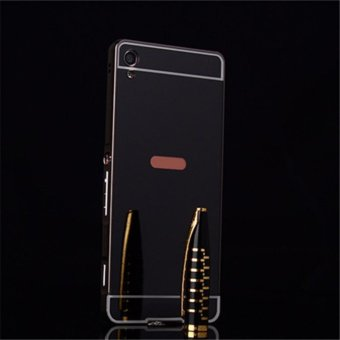Elaike For Sony Xperia XA Ultra 2 in 1 Luxury Aluminum Metal Mirror PC Phone Cover Case (Black) - intl