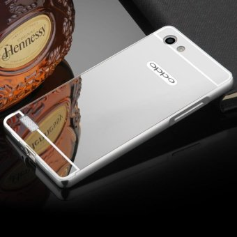 Electroplated Metal Bumper Mirror Back Cover Case for Oppo A33 (Neo7) - silver