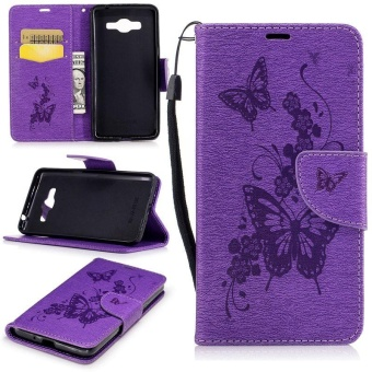 Embossed PU Leather Magnetic Flip Cover for for Samsung Galaxy J2Prime G532 / Galaxy Grand Prime Plus (Butterfly-Purple) - intl