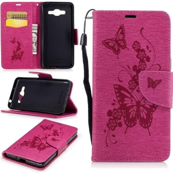 Embossed PU Leather Magnetic Flip Cover for for Samsung Galaxy J2Prime G532 / Galaxy Grand Prime Plus (Butterfly-Rose) - intl