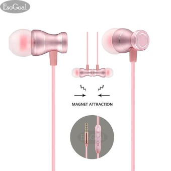 EsoGoal Wired Earphones In-Ear Magnetic Earbuds Stereo Noise Cancelling Headphones Sports Headset with Mic (Pink) - intl
