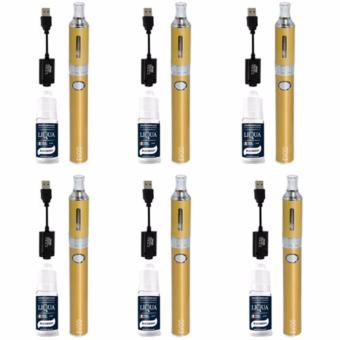 EVOD Electronic Cigarette Vape with Case (Gold) with Liqua SmokeJuice for Electronic Cigarette Set Of 6