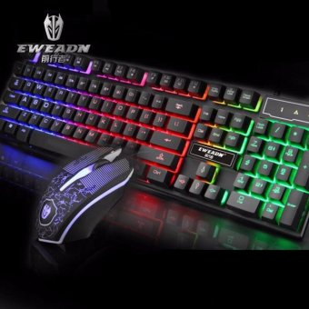 EWEADN KMX-50 Wired Gaming Keyboard and Mouse Set (Black)