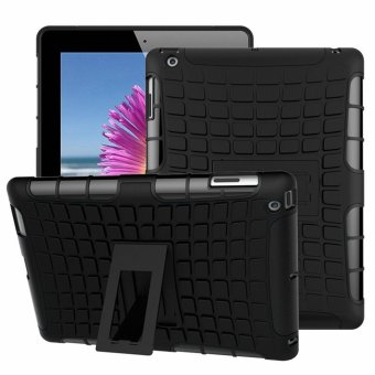 Extreme Protection Rubber Armor Case with Kickstand for Apple iPad2/3/4 (Black)