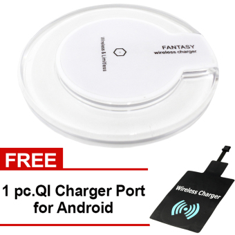 Fantasy Wireless Charger Round Pad Type Qi Standard for All Type ofPhone (White) with Free QI Charger Port