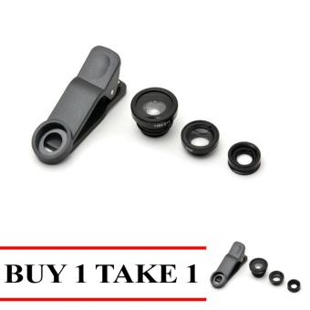 Fashion 3-in-1 Macro/Fish-eye/Wide Clip Lens for Mobile Phone andTablets Buy 1 Take 1 Black