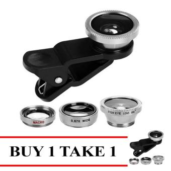 Fashion 3-in-1 Macro/Fish-eye/Wide Clip Lens for Mobile Phone andTablets Buy 1 Take 1 Silver Price Philippines