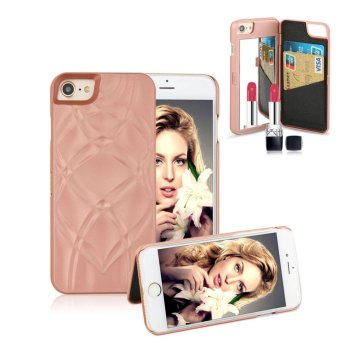 Fashion Lady Mirror Wallet Case For iphone 6 6s Leather Flip MakeupMirror Phone Cases Card Slot Holder Stand - intl