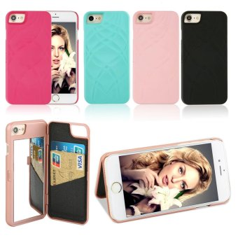 Fashion Lady Mirror Wallet Case For iphone 6 6s Leather Flip MakeupMirror Phone Cases Card Slot Holder Stand - intl - 4