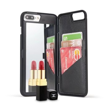 Fashion Lady Mirror Wallet Case For iphone 7 Leather Flip MakeupMirror Phone Cases Card Slot Holder Stand - intl