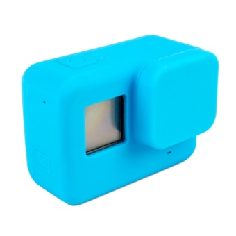 Fashion Silicone Protective Cover Protector Case Shell Skin + LensCap Accessories for Gopro Hero 5 Action Camera Blue - intl