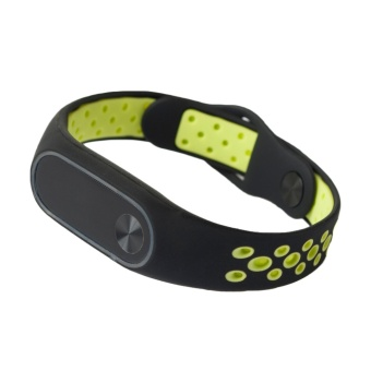 Fashion Silicone Ventilate Light Replacement Sports Wristband Strap Bracelet Smart Band Accessories for Xiaomi Mi Band 2 Green - intl