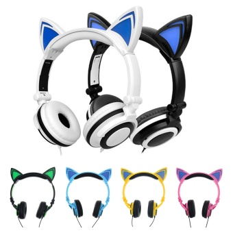 Fashion Stylish Cat Ear Headphones for Computer Games HeadsetEarphone with LED light For PC Laptop Computer Mobile Phone - intl