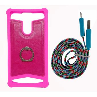 FCH Bumper Silicone Back Cover Case (Pink) for Asus ZenFone SelfieZD551KL with Free Flat Data Cable