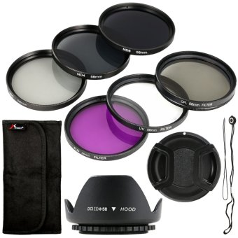 Filter Set + Lens Hood 58mm for Canon T4i T4 T3i T2i 450D 400D 350D 1000D LF134-SZ (Black) Price Philippines