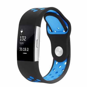 Fitbit Charge 2 Band, Hanlesi Silica gel Soft Silicone AdjustableFashion Replacement Sport Strap Bands for Fitbit Charge2 SmartwatchFitness Wristband - intl
