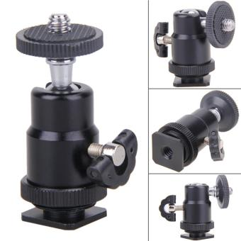 Flash Bracket Holder Mount 1/4 Hot Shoe Adapter Ball Head with Lock- intl - 2