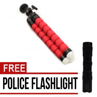 Flexible Camera Tripod Flexible Leg Mini Tripod for DV ActionDigital Camera and Phone Gopro Mount Adapter (Red) with free PoliceFlashlight Price in Philippines