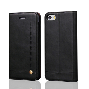 Flip Cases for Apple iPhone 5 / 5S / SE 4 inch iOS Smartphone -Drawing Magnet Design Stand Feature Shock Absorbing Premium Soft PULeather Wallet Cover Case (Black) - intl