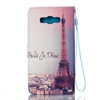 Flip Cover Leather Case for Samsung Galaxy J7 (2016) J710 (Eiffel Tower) - Intl - 2