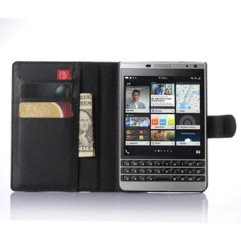 Flip Leather Case Built In Card Slot For Blackberry Passport SilverEdition Black - intl - 5