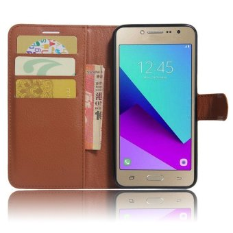 Flip Leather Wallet Cover Case For Samsung Galaxy J2 Prime G532 (Brown) - intl