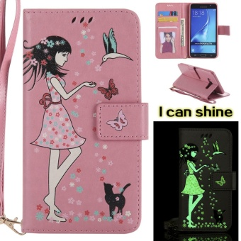 "Flip Style Fashion Girl Noctilucent Pattern Cover (PU leather and TPU) Stand Function Protection wallet phone case for Samsung Galaxy J7 (2016)/ J710F 5.5"" - intl Price Philippines"