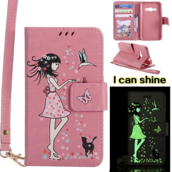 "Flip Style Fashion Gril Noctilucent Pattern Cover (PU leather andTPU) Stand Function Protection wallet phone case for Samsung GalaxyJ1 (2016) 4.5"" / J120F - intl Price Philippines"