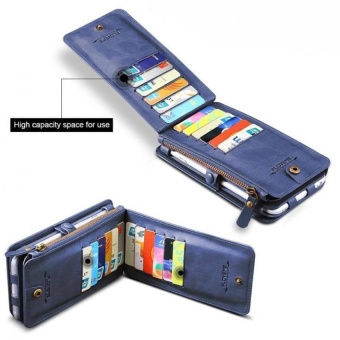 floveme Wallet Pouch Case with Card Slot For Apple iPhone 7 Plus(Blue) - 2