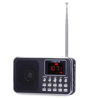 FM AM Mini Radio Digital LCD Speaker MP3 Music Player AUX USB TF with LED Light Black - intl - 3