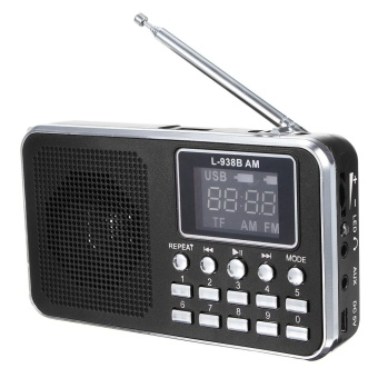 FM AM Mini Radio Digital LCD Speaker MP3 Music Player AUX USB TF with LED Light Black - intl