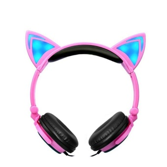 Foldable Flashing Glowing Cat Ear Headphones Gaming Headset MusicEarphone with LED Light For PC Laptop Computer Mobile Phone - Pink+ Black - intl
