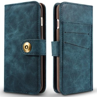 for Apple iPhone 6 Plus / 6s Plus 2in1 Stand Support + Card Slot Magnetic Buckle Vintage Cow Leather Split Cover Phone Wallet Case - intl