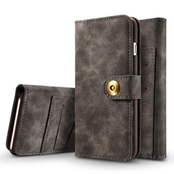 for Apple iPhone 6 Plus / 6s Plus 2in1 Stand Support + Card Slot Magnetic Buckle Vintage Cow Leather Split Cover Phone Wallet Case - intl - 4