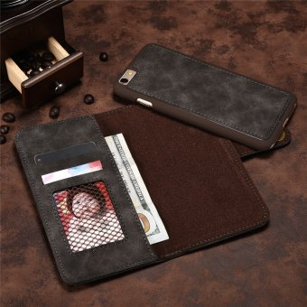 for Apple iPhone 6 Plus / 6s Plus 2in1 Stand Support + Card Slot Magnetic Buckle Vintage Cow Leather Split Cover Phone Wallet Case - intl - 5