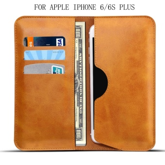 For Apple Iphone 6 PLUS/6s PLUS Leather Card Slot Leather Flip Cover Phone Case - intl