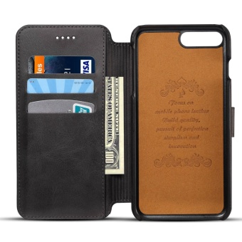 For Apple Iphone 7 Plus Premium Genuine Leather Card Slot patternWallet flip Cover Phone Case - intl
