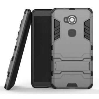 For Huawei G8/G7 Plus Silicon Frame Hard Plastic Shockproof PhoneCase With Holder (Grey) - intl Price Philippines