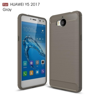 For Huawei Y5 2017 Carbon Fiber Brushed Texture Slim TPU Back Case (Grey) - intl