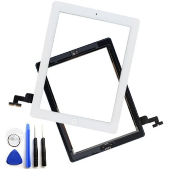 For iPad 2 Touch Screen Glass Digitizer Assembly with 3M AdhesiveGlue Sticker and Home Button Replacement (White) - Intl
