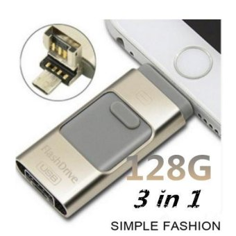 For iphone Flash Drive USB 128GB 3 in 1 External Storage Memory Expansion U Disk for iPhone 6s 6s plus 6 plus and USB Android Cellphone,Macbook Laptop PC - intl