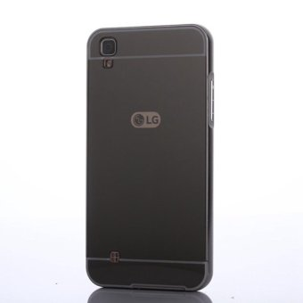 For LG X Power Ultra Slim Thin Metal Frame Bumper Case with Mirror Effect Hard PC Back Cover Protector (Black) - intl