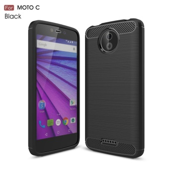 For Motorola Moto C Carbon Fiber Brushed Texture Slim TPU Back Case (Black) - intl