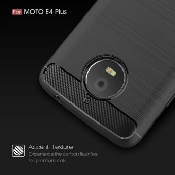 For Motorola Moto E4 Plus Carbon Fiber Brushed Texture Slim TPU Back Case (Navy) - intl - 3