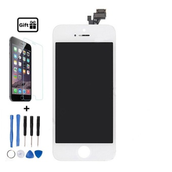 For No Dead Pexel White Iphone 5 LCD Display Touch Screen Digitizer Assembly With Frame + Free Tempered Glass+Free Repair Tools - intl
