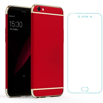 For OPPO R9S Plus/F3 Plus Hybrid 3 In1 Phone Case With HD AntiBlue-Ray Tempered Glass/ Hard Plastic/PC Matte Protective BackCover Fingerprint-proof Phone Shell - intl